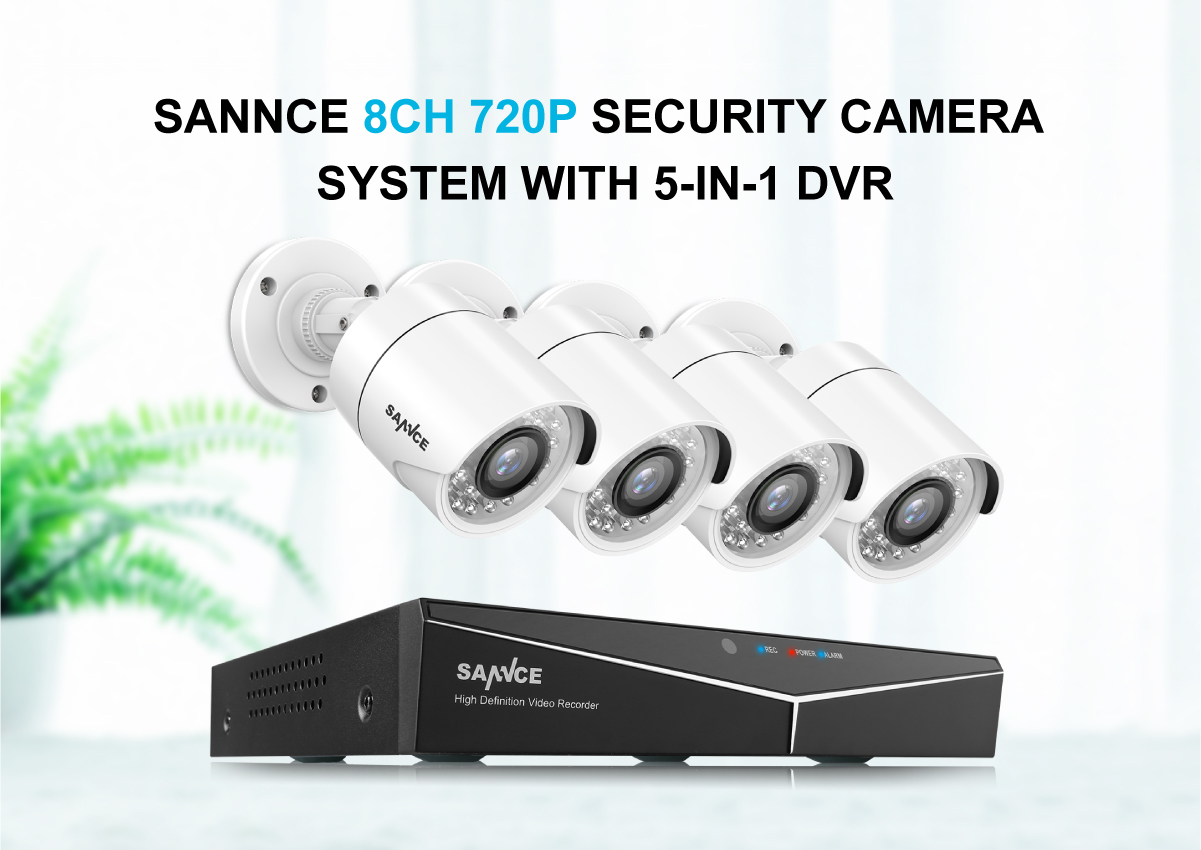 SANNCE 8CH 1080N 5-IN-1 DVR IR Überwachungskamera Überwachungssysteme 4x Kameras