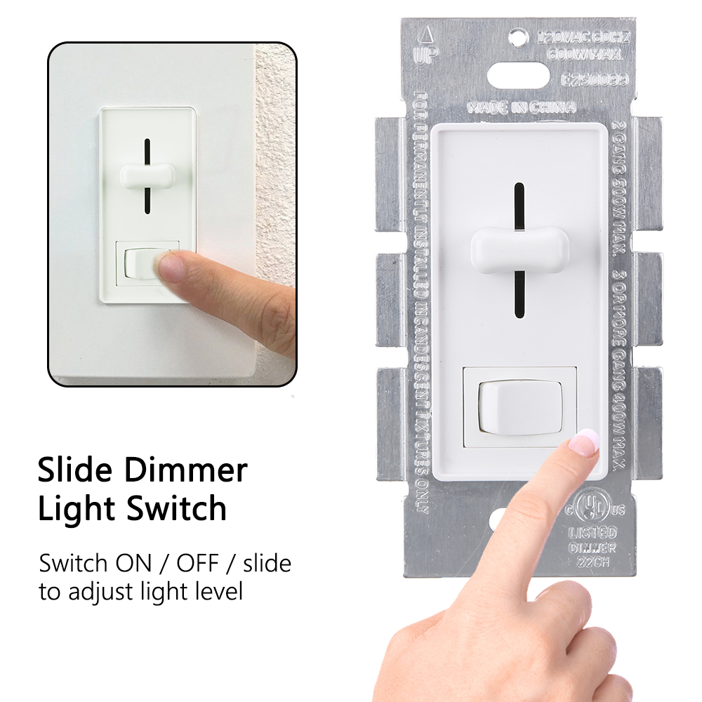 CFL / 600w Incandescent Wall Light Dimmer Switch WHITE ...