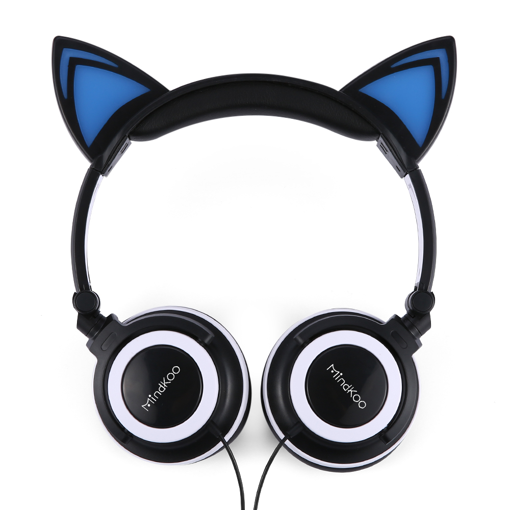 mindkoo earphone cat ear foldable led glowing lights headset for iphone black ebay. Black Bedroom Furniture Sets. Home Design Ideas