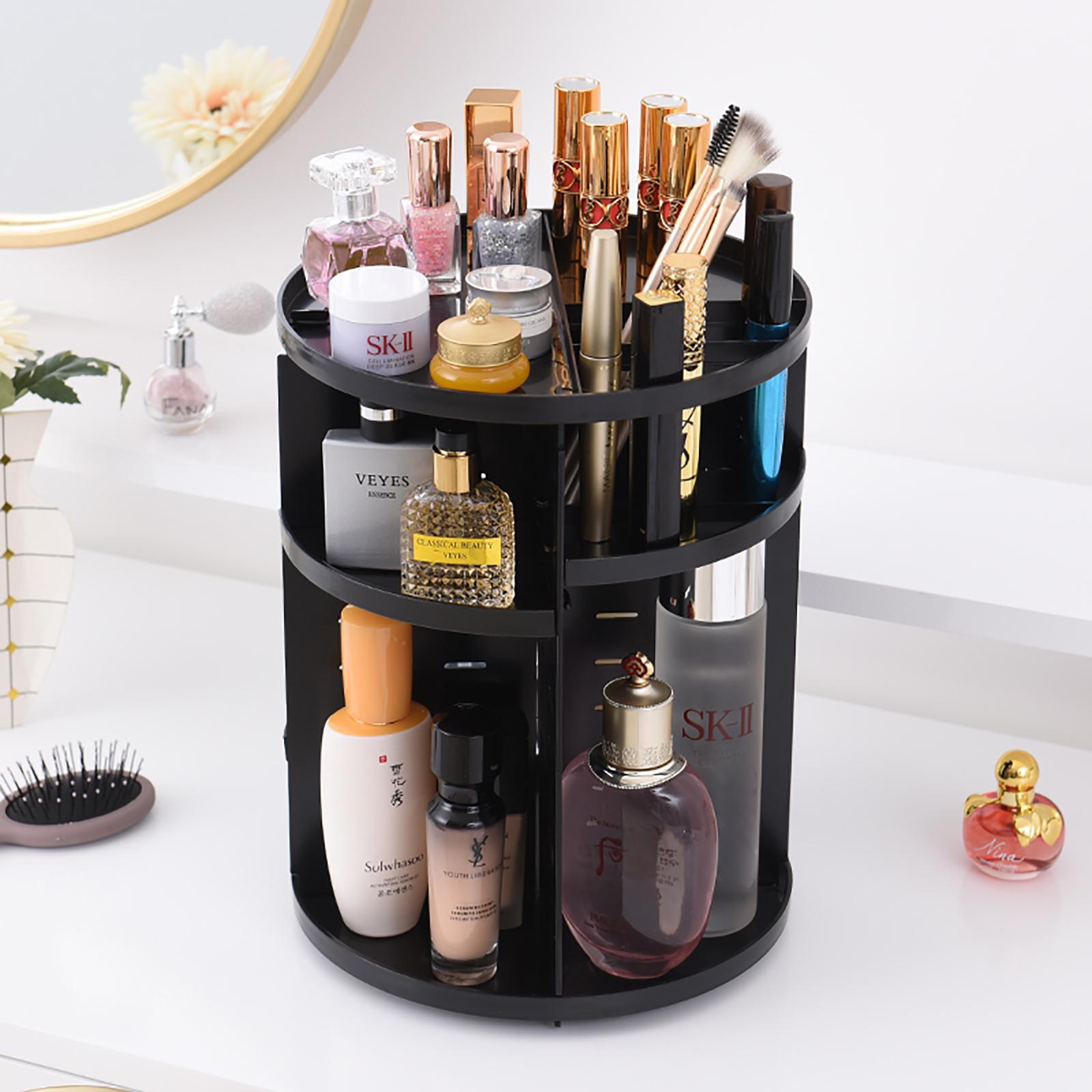Details about Makeup Cosmetic Rack Holder 360 Degree Rotating Organizer Storage Box Case Black