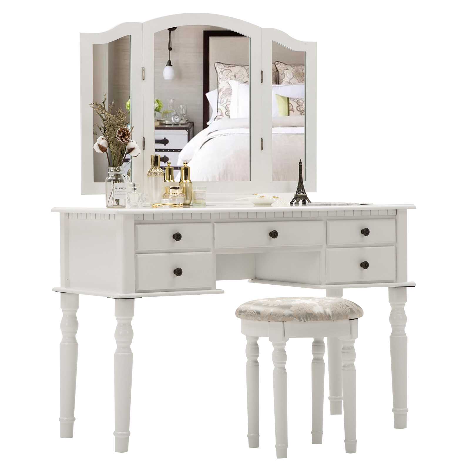Astounding Details About Vanity Makeup Dressing Table Set Folding Mirror Desk Dresser With Stool White Caraccident5 Cool Chair Designs And Ideas Caraccident5Info
