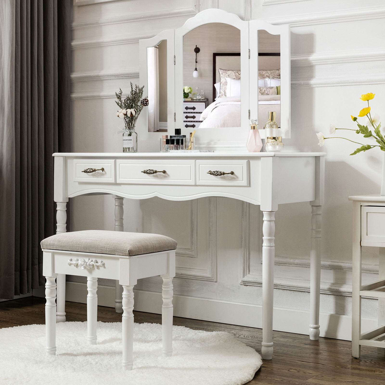 Astounding Details About Vanity Makeup Dressing Table Set Folding Mirror Desk Dresser W Stool Wood White Squirreltailoven Fun Painted Chair Ideas Images Squirreltailovenorg