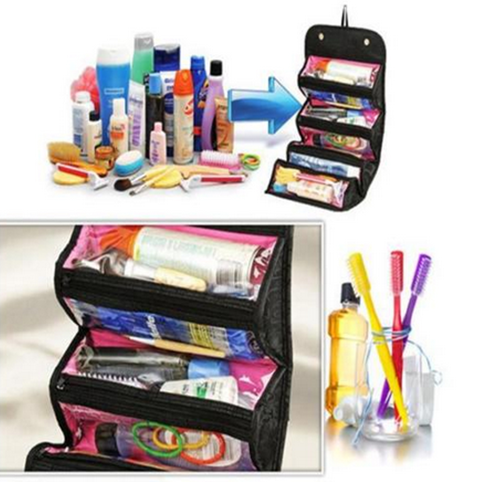 Travel Roll-up Cosmetic Makeup Case Organizer Pouch Hanging Toiletry Wash  Bag US