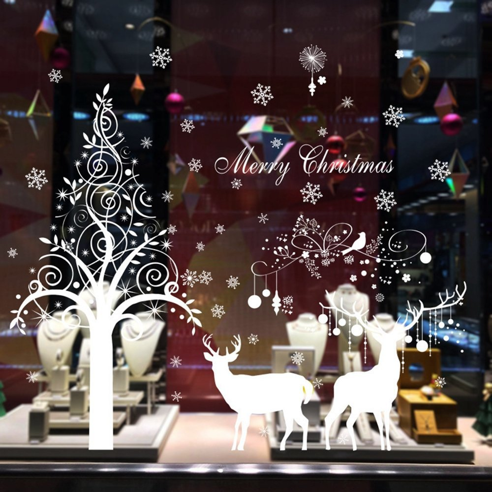 Homecube Merry Christmas Wall Art Removable Window Wall Stickers - Christmas wall decals removable