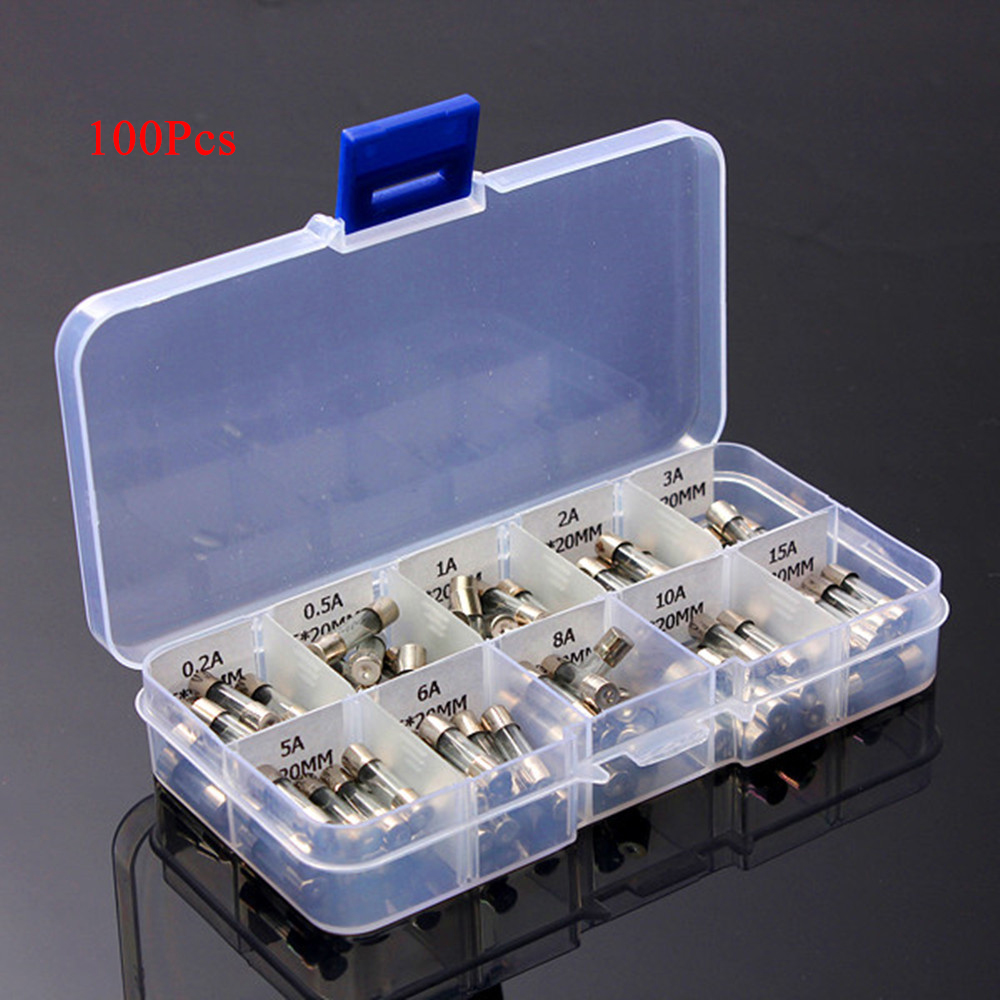 100x 5*20mm Electrical Glass Fuse Amp Fast-blow Circuit Fuse Box Holder  0.2A-15A