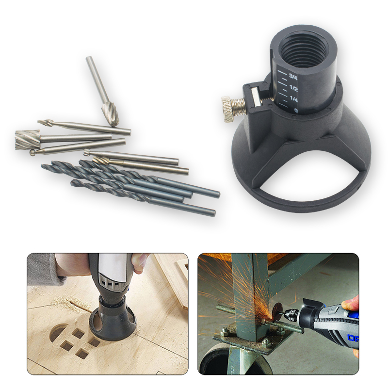 Rotary Multi Tool Cutting Guide Attachment Kit HSS Router Drill Bits Set