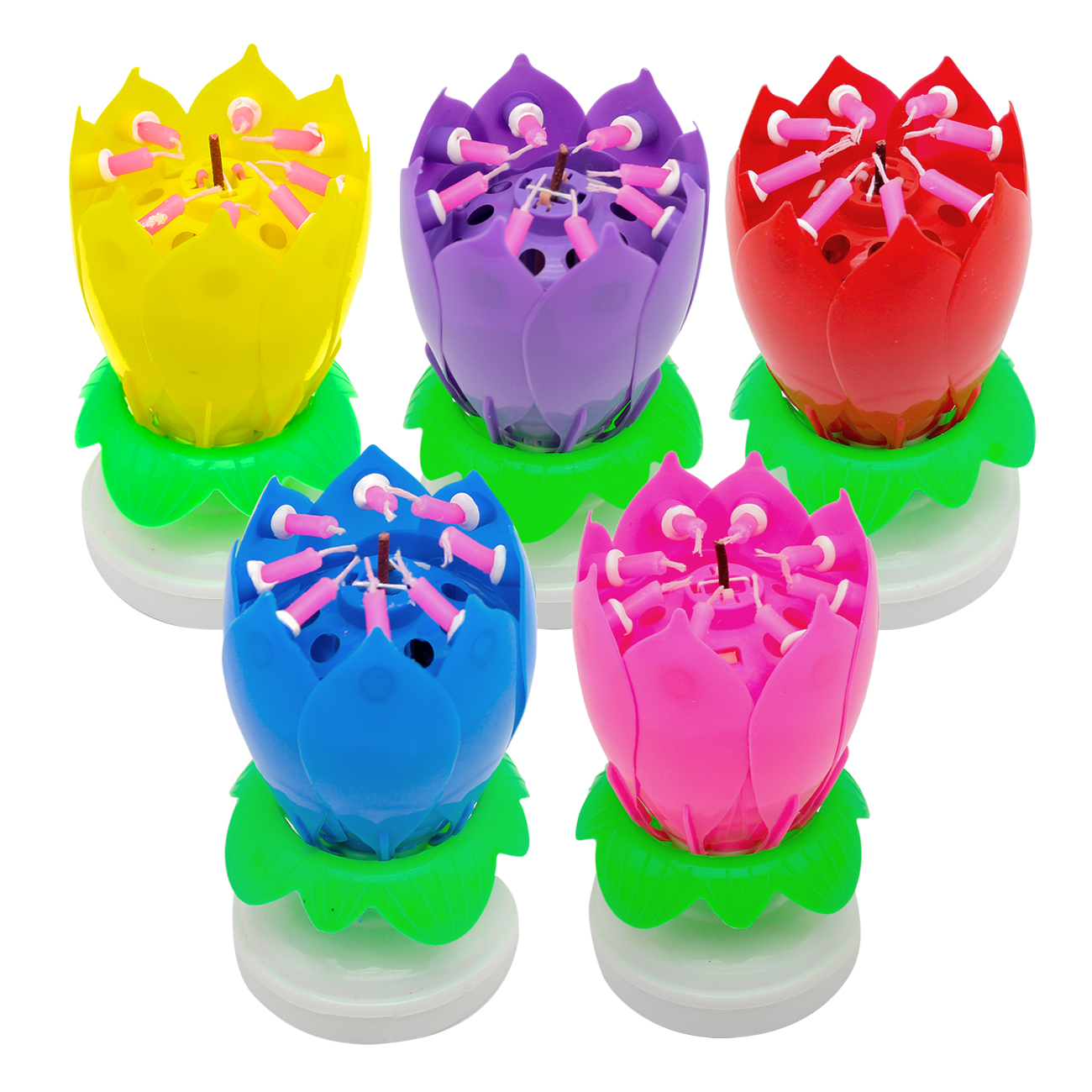 Details About 4x Music Party Surprised Birthday Candle Magic Lotus Flower Spin 8 Small Candles