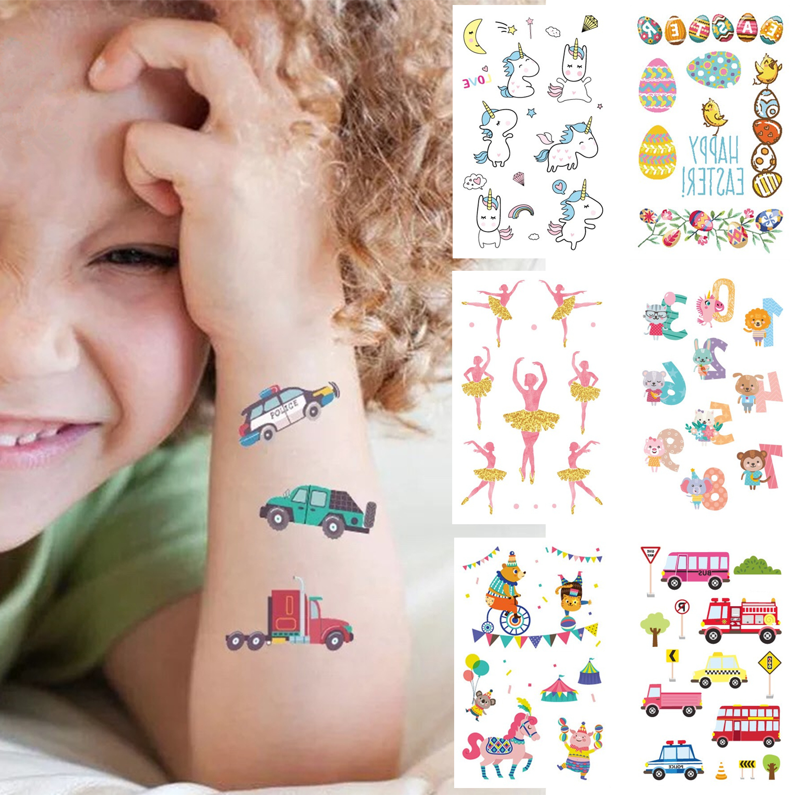 Cartoon Tattoo Stickers Kids Cute Waterproof Temporary Tattoo ...