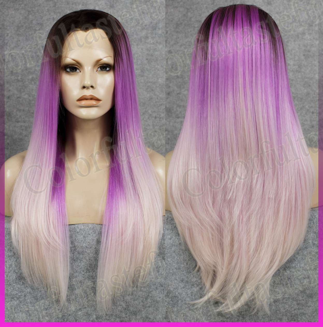 Details about Long Straight Ombre Purple Women Lace Front wig Black Root  violet white wigs 12b93b06eb
