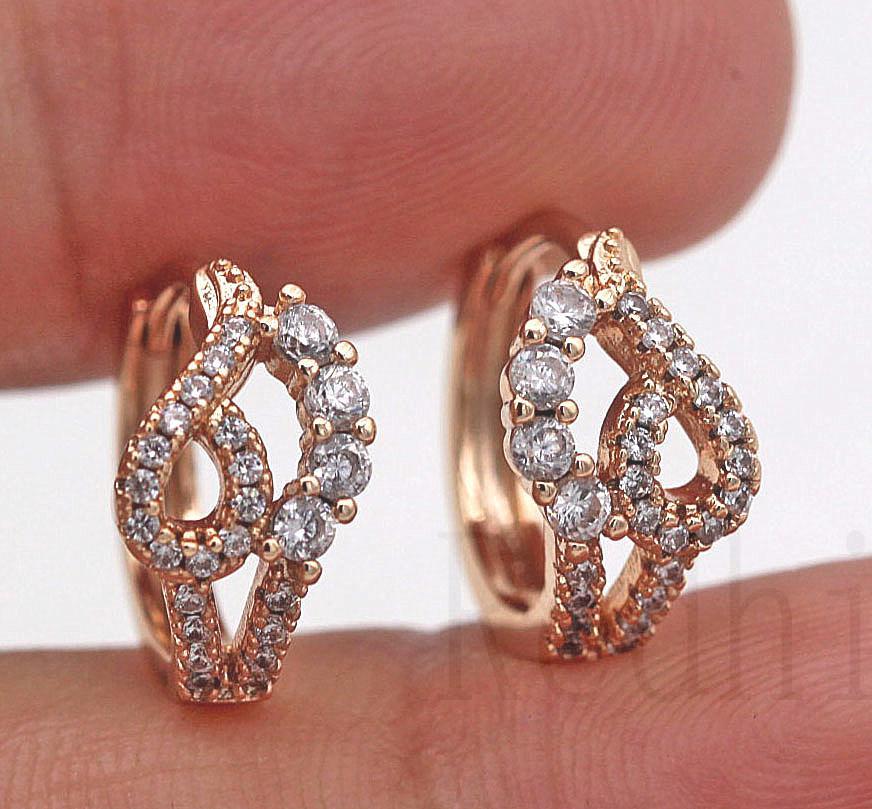 Heart Hollow Geometry Clear Topaz Pageant Lady Hoop Earrings 18K Gold Filled