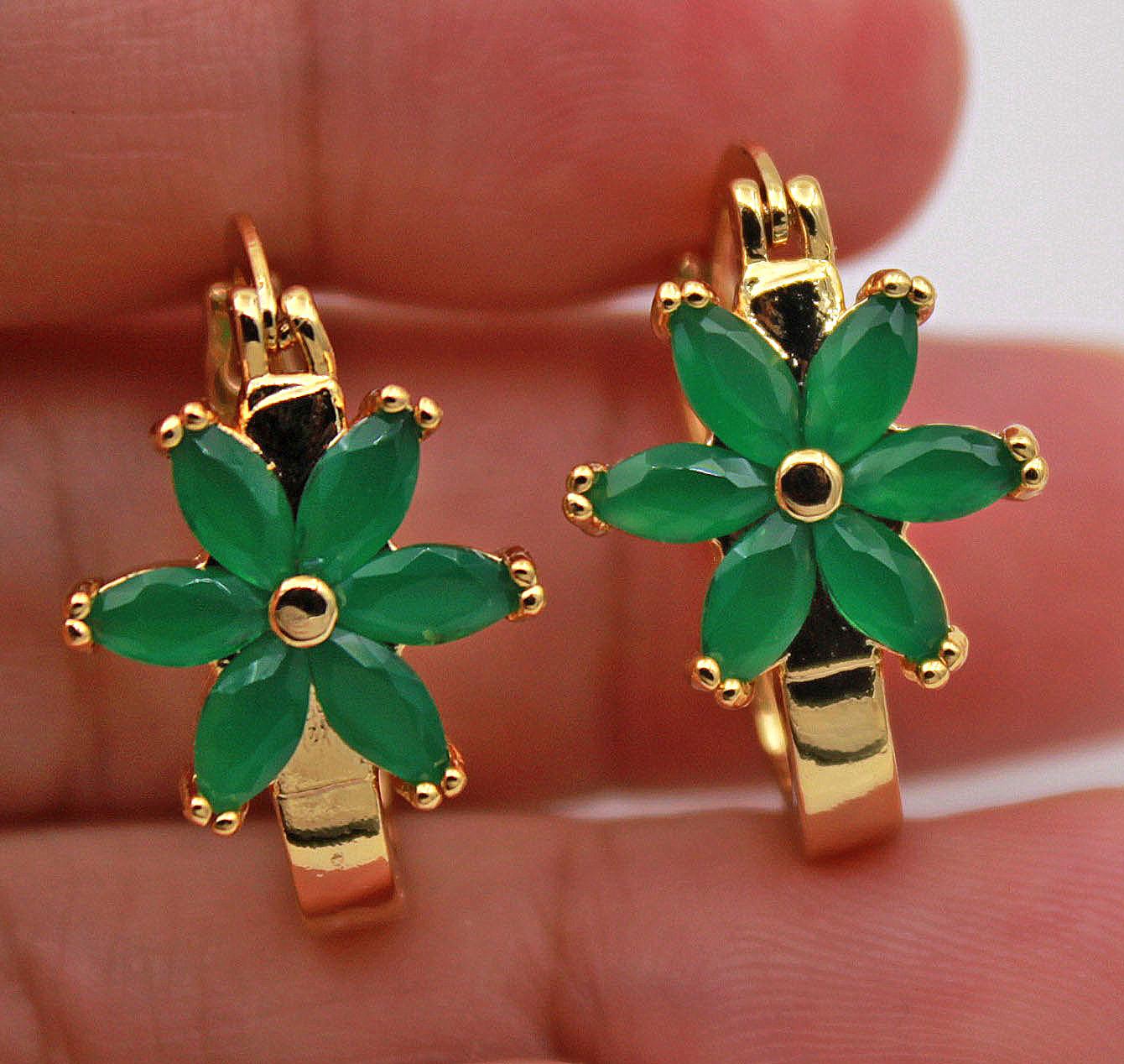 18K Yellow Gold Filled Earrings Topaz Gems Heart Stripe Ear Stud Hoop Lover Prom