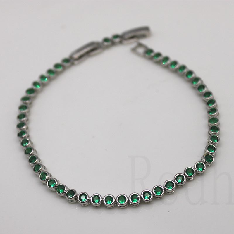18K Gold Filled Cuff Chain Flower Amethyst Emerald Hollow Circle Gem Bracelet SW