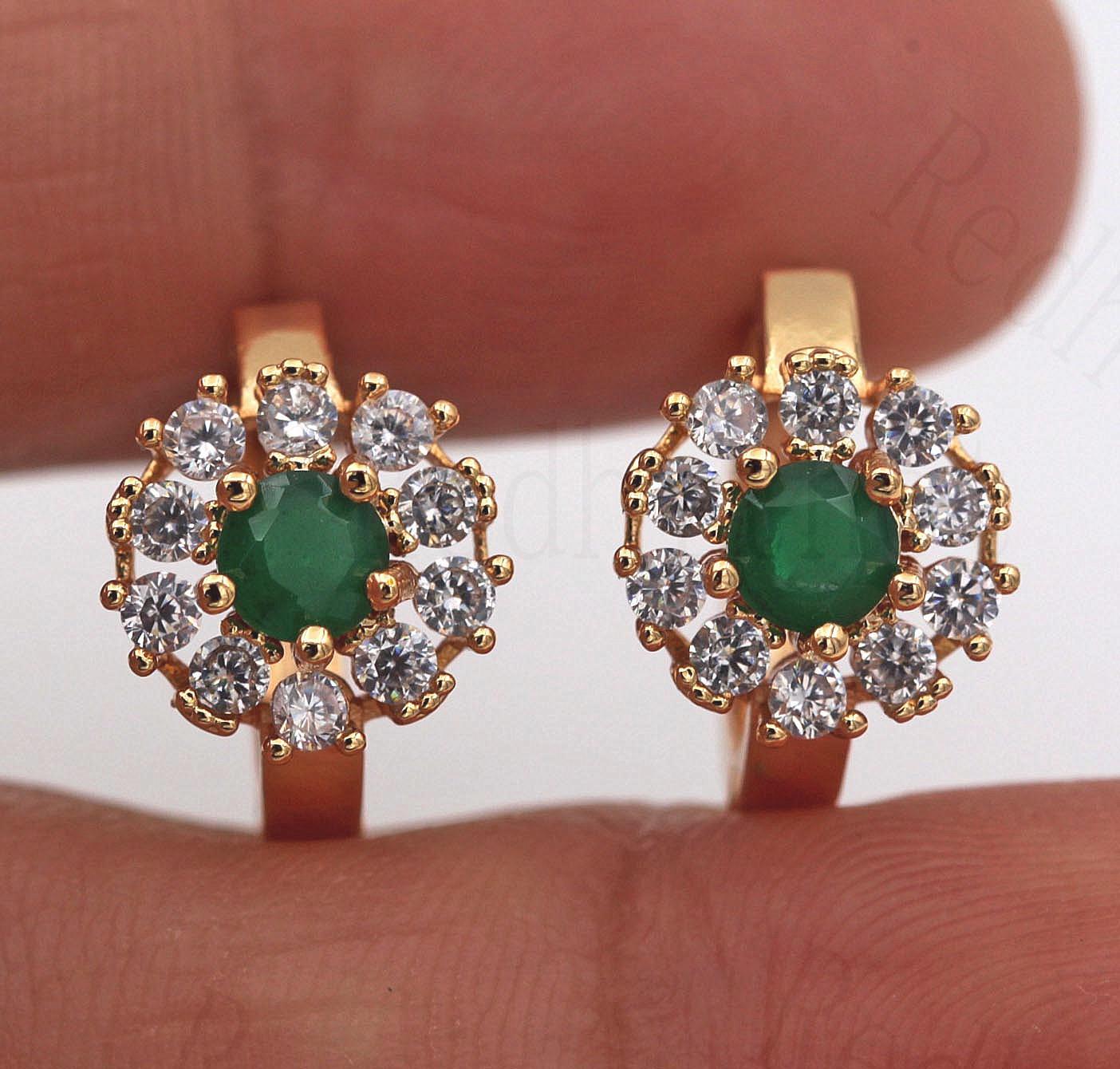 18K Gold Filled 1.2/'/' Pink Round Topaz Zircon Flower Hoop Lady Party Earrings