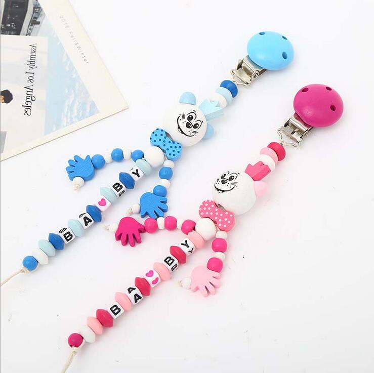 Cartoon wooden pacifier chain holder clip baby feeding teether pacifiers clip Es
