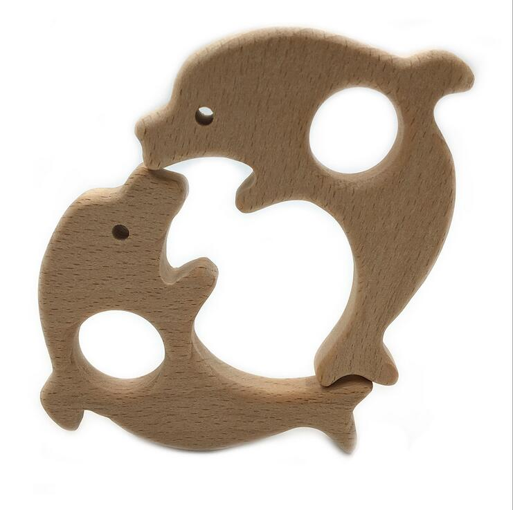 1pcs Natural wood Safety Wooden Teether Flowers shape Baby Molar Stick Toy