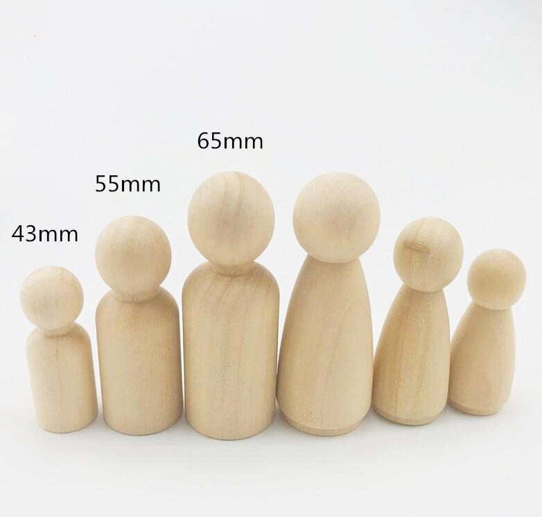 6pcs Wooden Peg Dolls Natural Unfinished Baby Wooden Doll Teether Toys Crafts