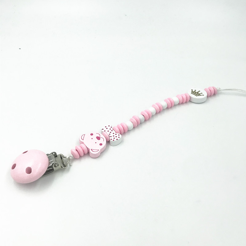 Pink Wood Pacifier Clips Bear bowknot Wood Bead Pacifier Chain Baby Soother Clip