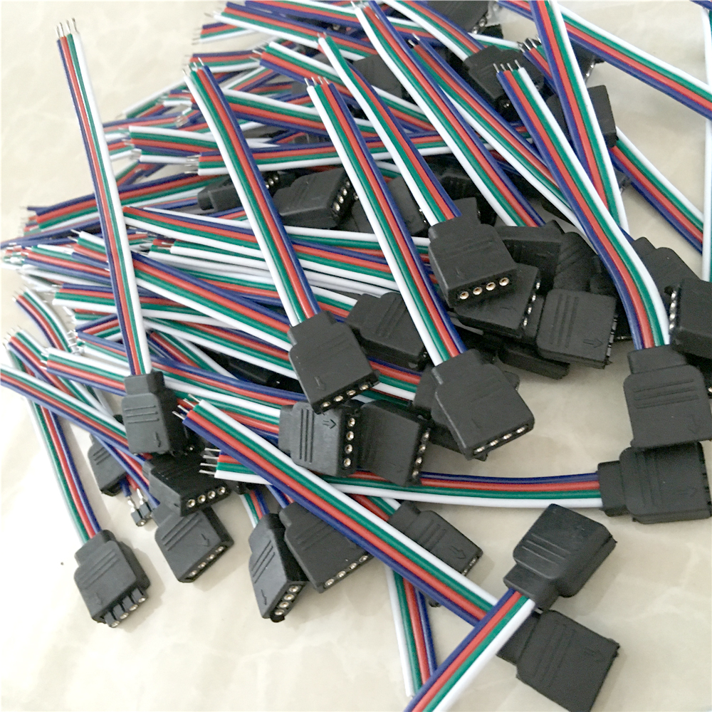BT 4 PIN Female/Male RGB Connectors Wire Cable For 3528 5050 SMD LED ...