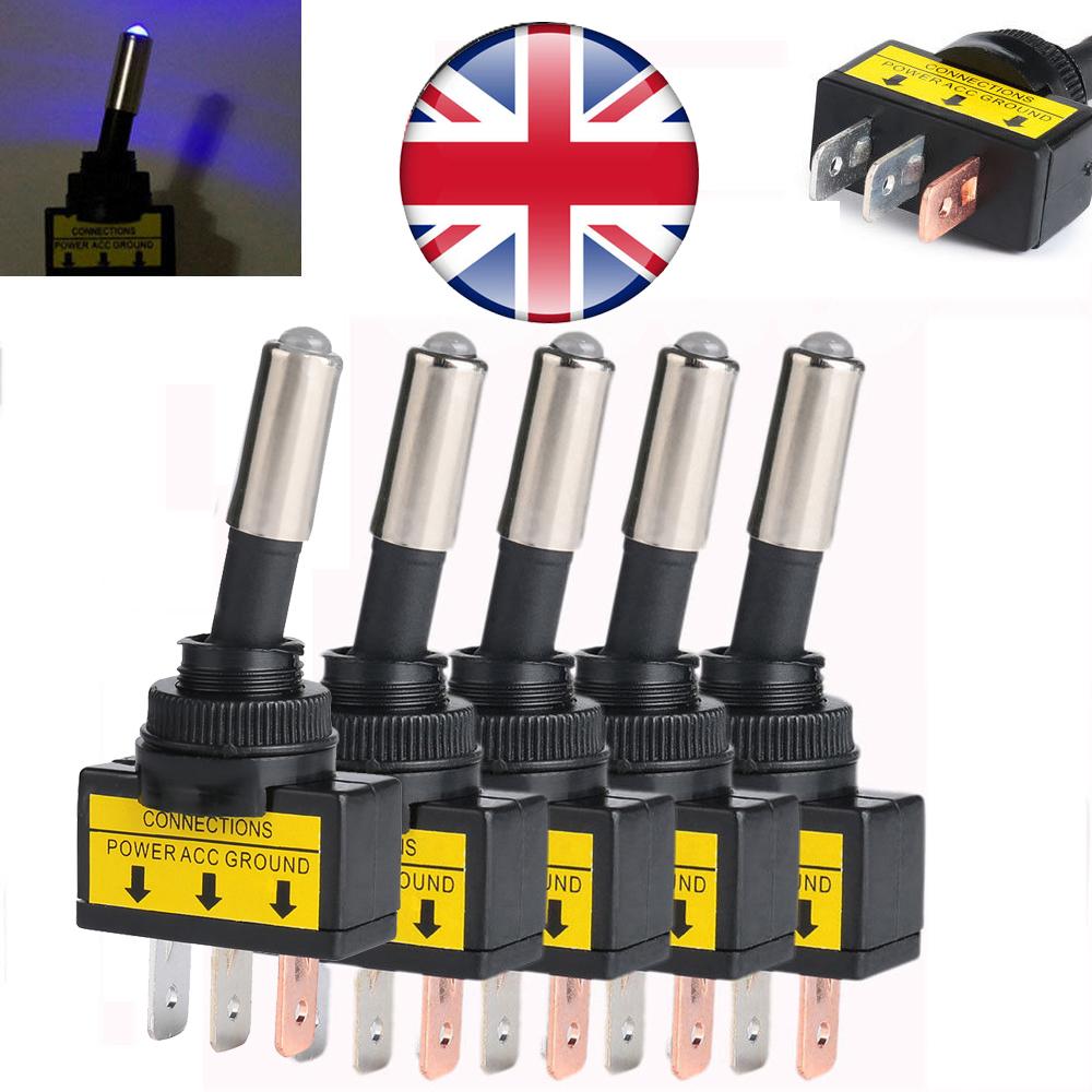 5x ON//OFF LED Toggle Switch 12V 20A 3Pin Rectangular Blue LED UK Local
