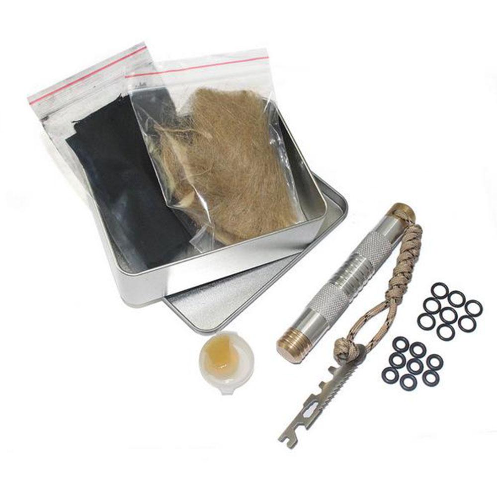 Brass Fire Lighter Piston Kit Outdoor Emergency Tool Aluminium Fire StarterTube