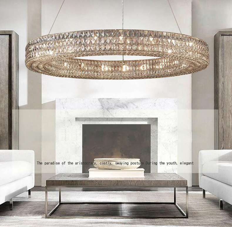 Details about Modern minimalist restaurant chandelier living room Clear  crystal ceiling lamp