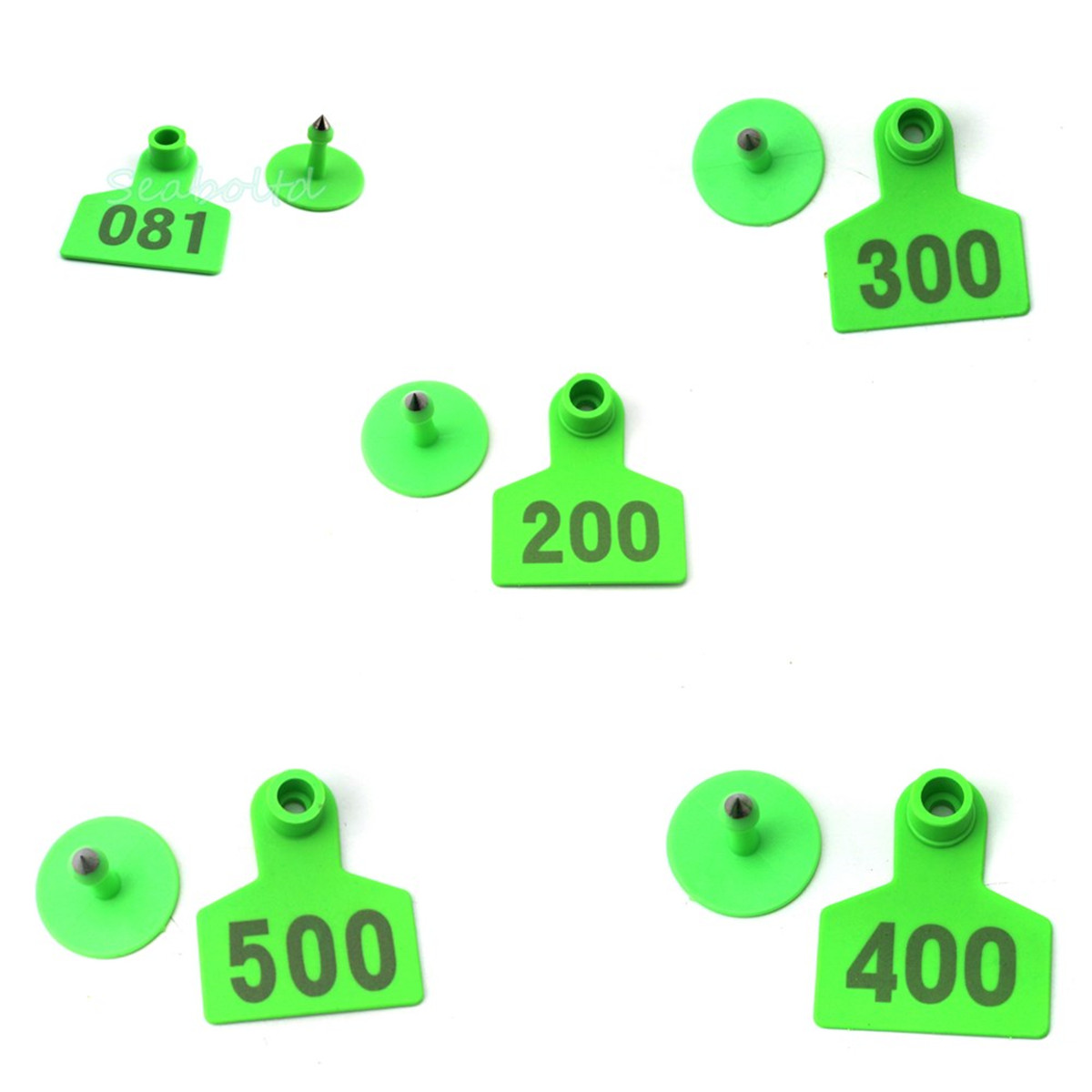 Green Plastic Livestock Ear Tag Animal Tag for Goat Sheep Pig Number 1-500