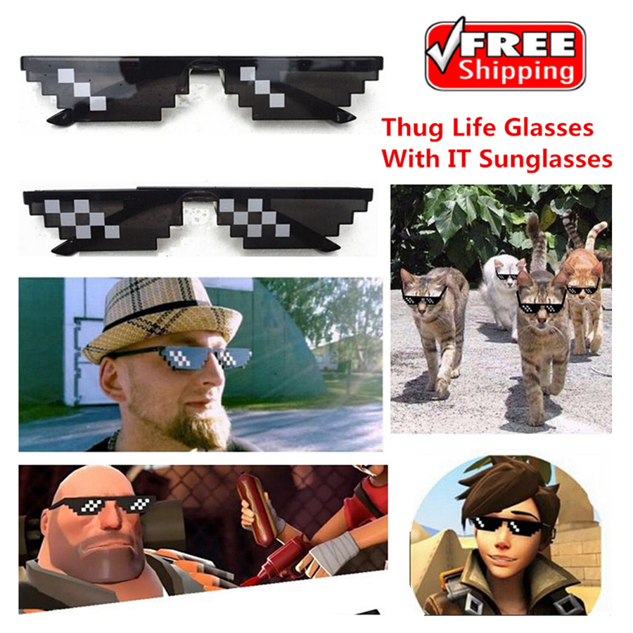 Thug Life Glasses 8 Bit Pixel Deal With Sunglasses Unisex Eyewear Eye Glasses