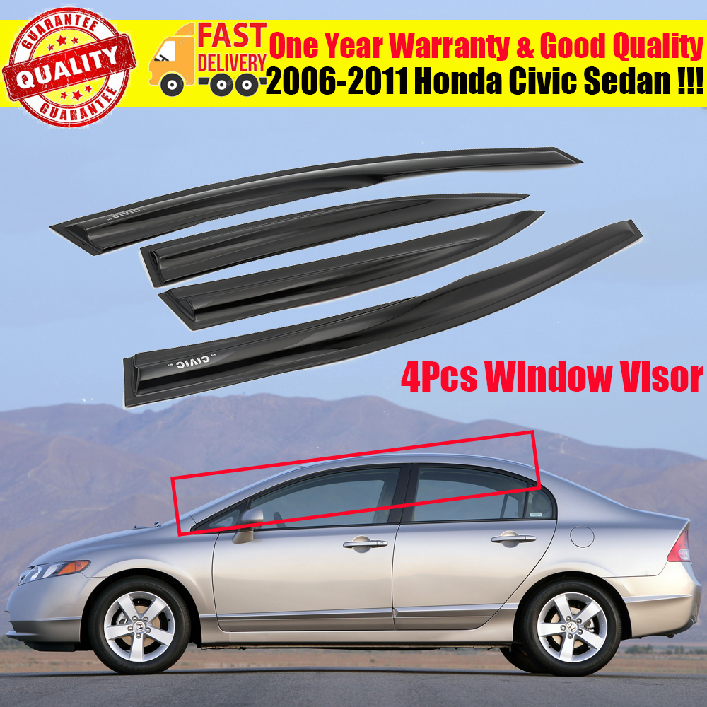 Vent Shade Window Visors For Honda Civic 06 07 08 09 10 11 4DR 4 Doors LX DX