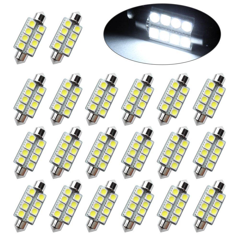 20X Pure White 211-2 578 42MM 5050 8SMD Festoon Dome Map Interior LED Light bulb
