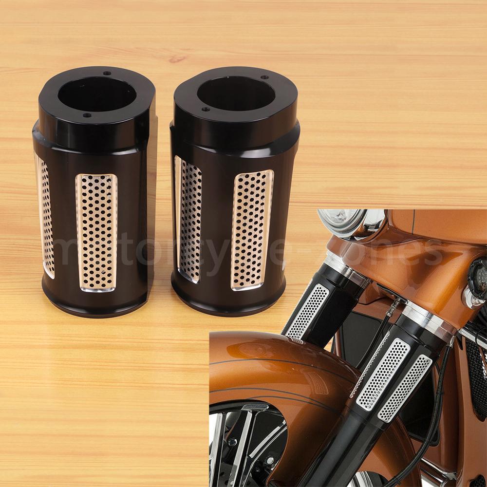 Black Billet Fork Sliders for Harley Fork Slider Covers for Touring Models 97-13
