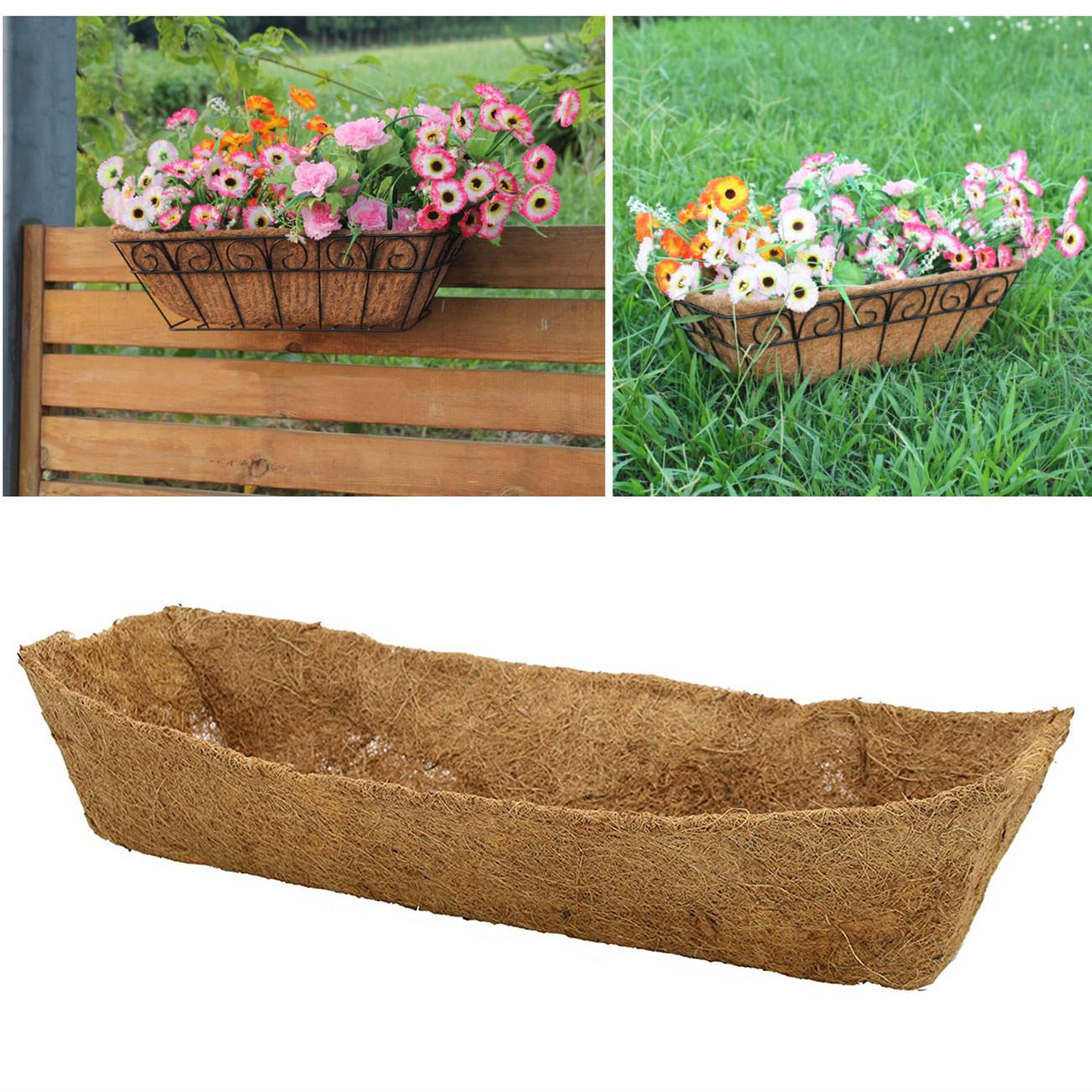 2PCS Coco Fiber Flower Plant Care Garden Rectangular Liner ...