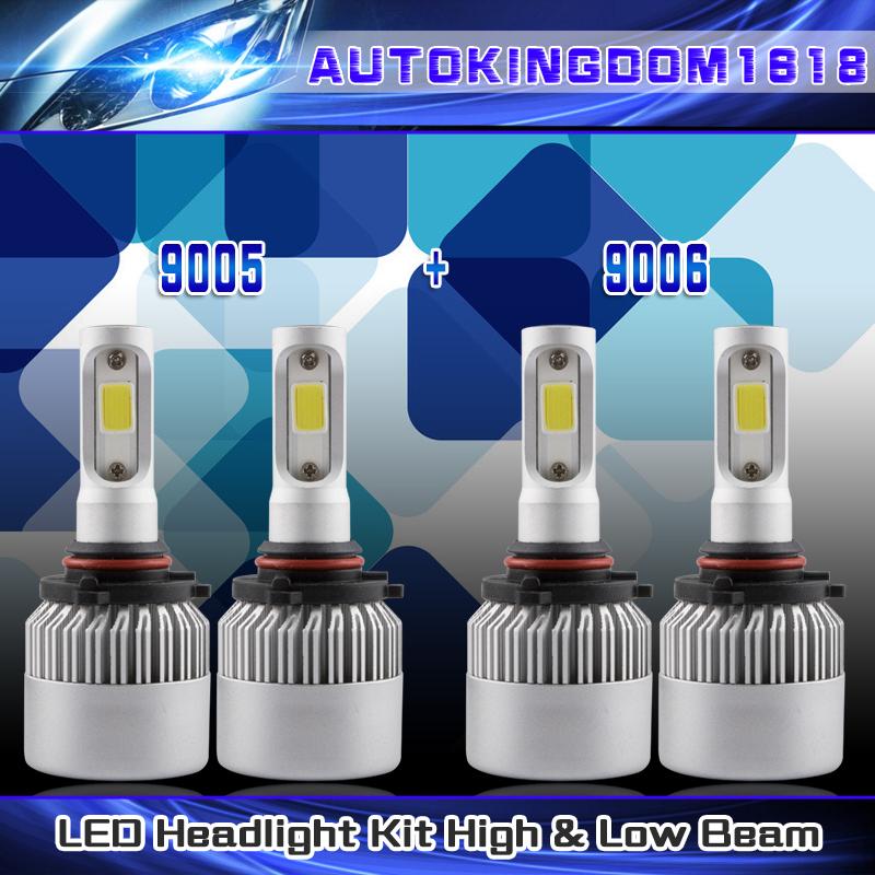 9005+9006 Combo LED Headlight Hi//Lo Beam For Chevrolet Tahoe Silverado 1999-2006
