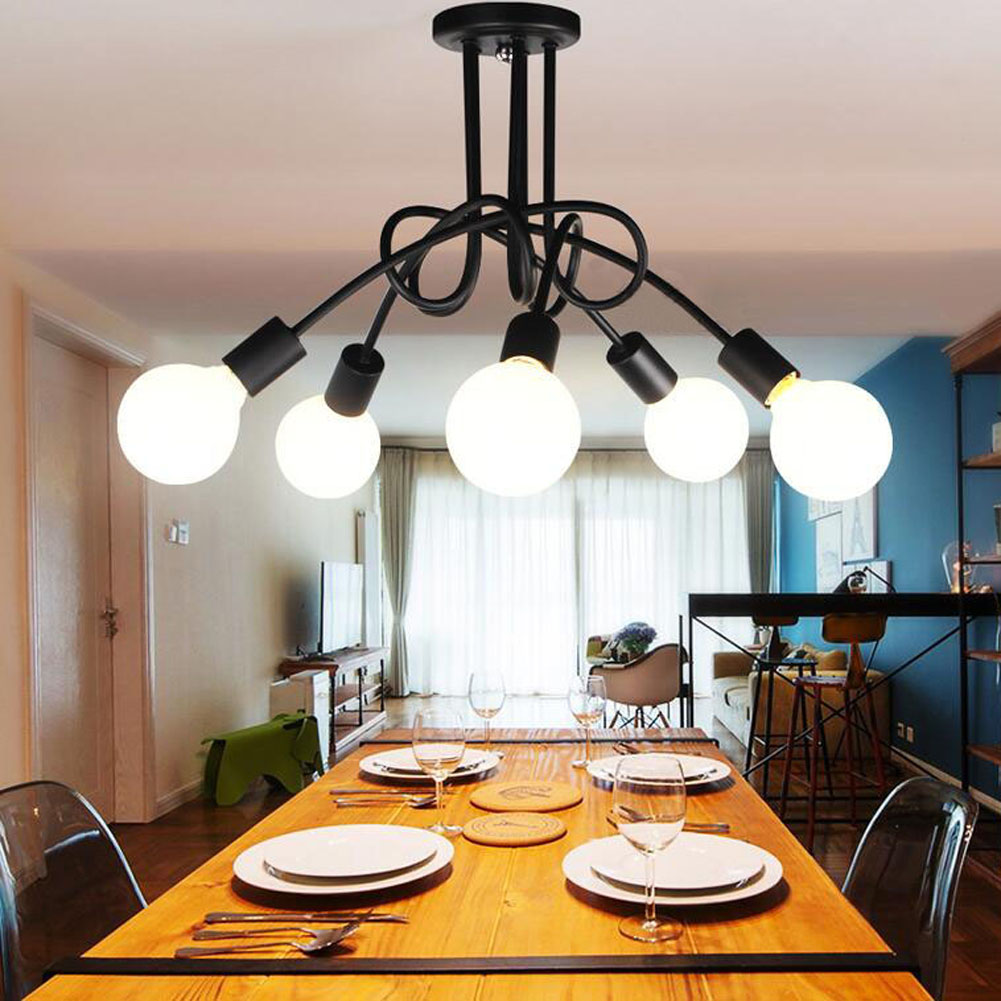 Details about ceiling light 5 arm way bulb living room lounge chrome fitting modern chandelier