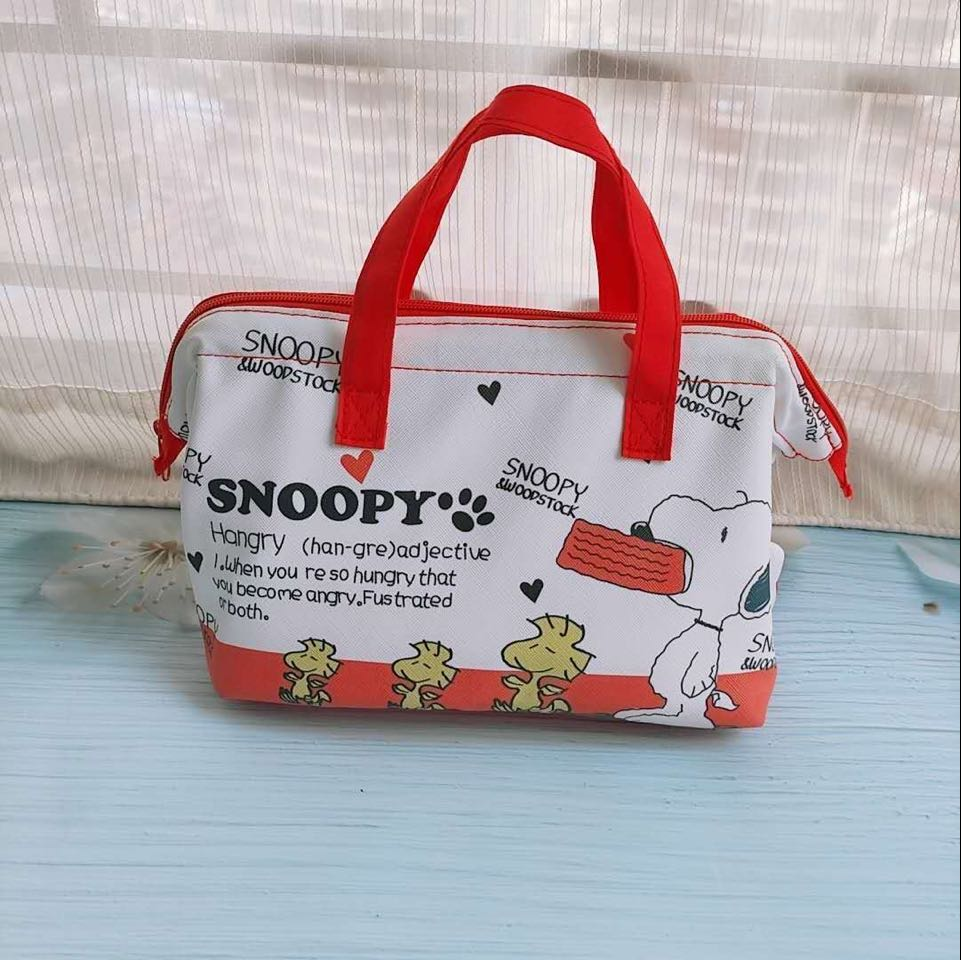 Cute Snoopy Lunch Bag Waterproof Zipper Tote Handbag Storage Bags Eco-friendly