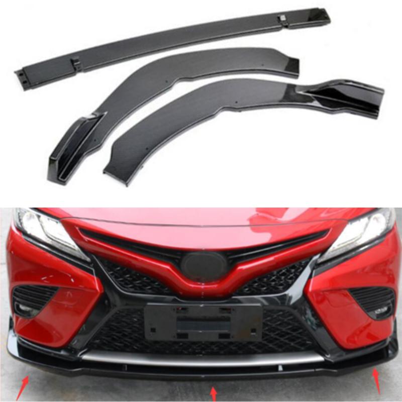 Carbon fiber Style For Toyota Camry 2018 SE//XSE Front Bumper Lip Cover Trim 3PCS
