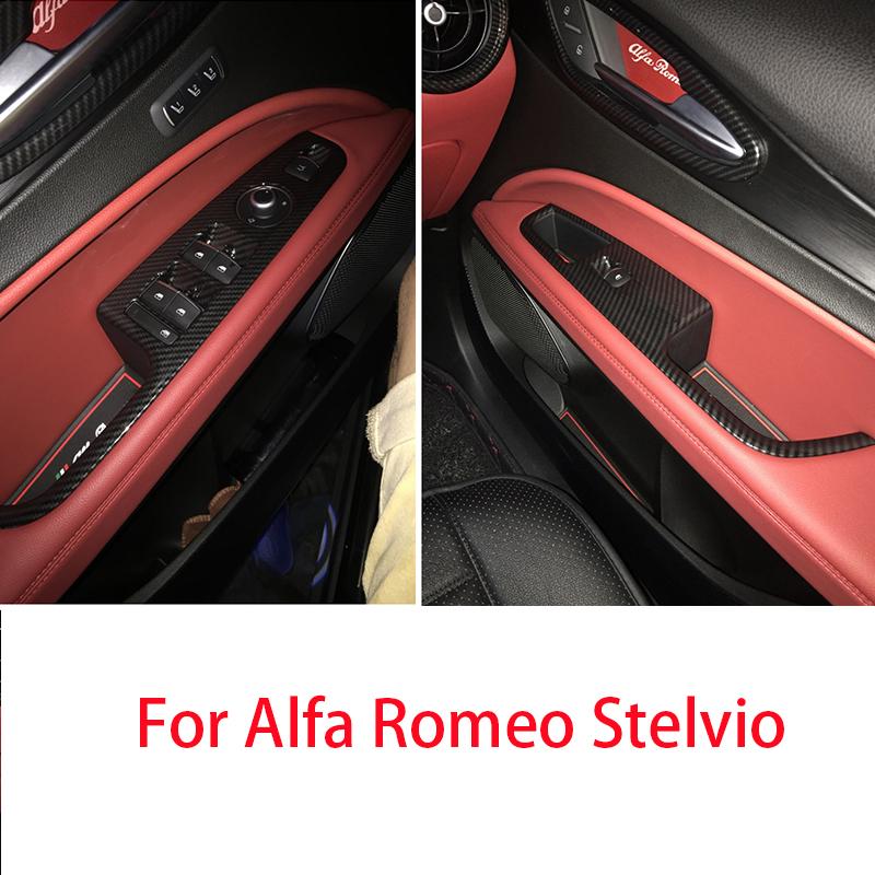 Carbon Fiber Look Window Lift Button Cover Trim For Alfa