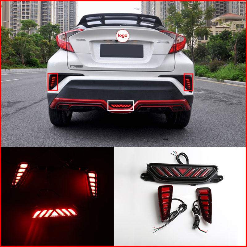 3Pcs LED Rear Bumper Reflector Light Car Fog Driving Brake for Toyota C-HR CHR
