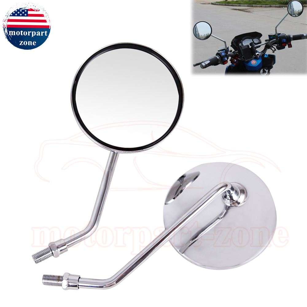 """Universal 4/"""" Round Long Stem Motorcycle Mirrors 8mm Screws Chrome Silver Color"""