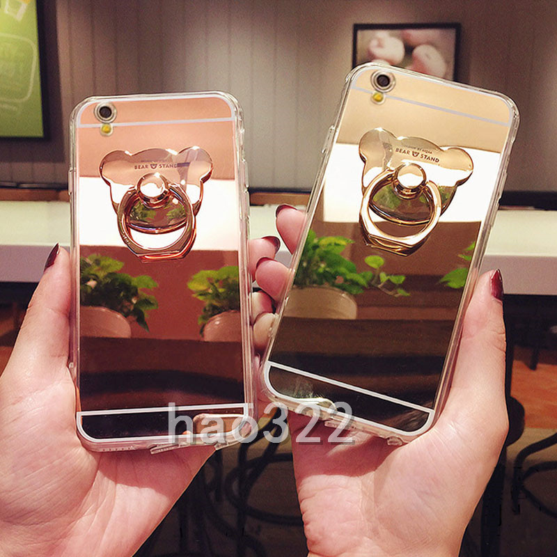 separation shoes e2b9a 8bea4 Details about Luxury Bling Bear Ring Holder Kickstand Mirror Soft Back  Phone Case Cover Skin B