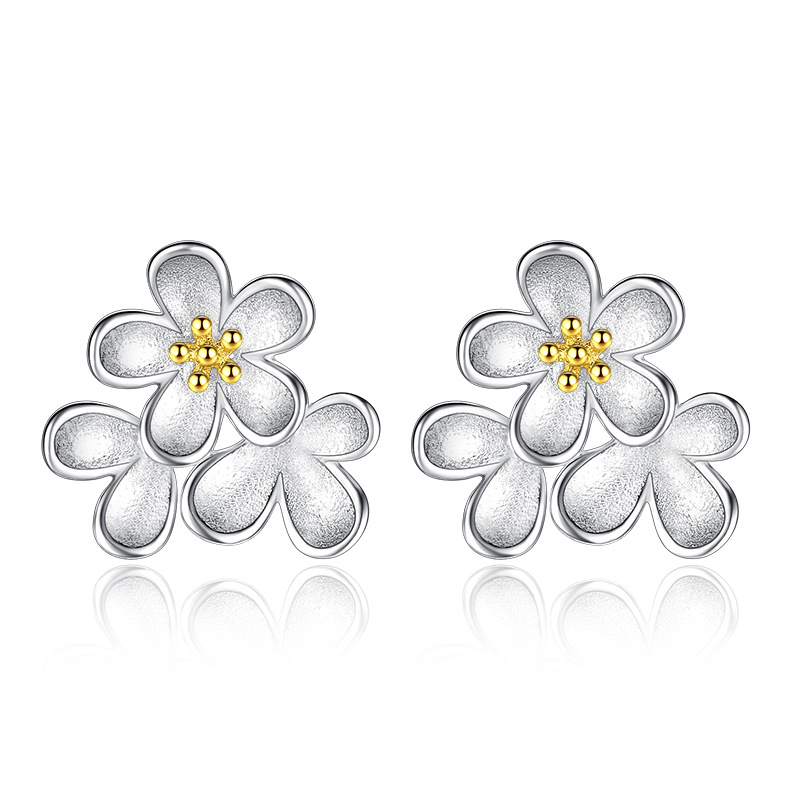 Real 925 Sterling Silver Women Gold Flowers Earrings Stud Fashion Jewellery