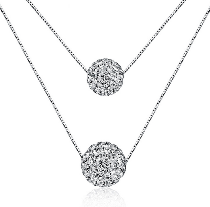 925 sterling silver double natural crystal ball pendant necklace 925 sterling silver double natural crystal ball pendant necklace women jewelry aloadofball Image collections