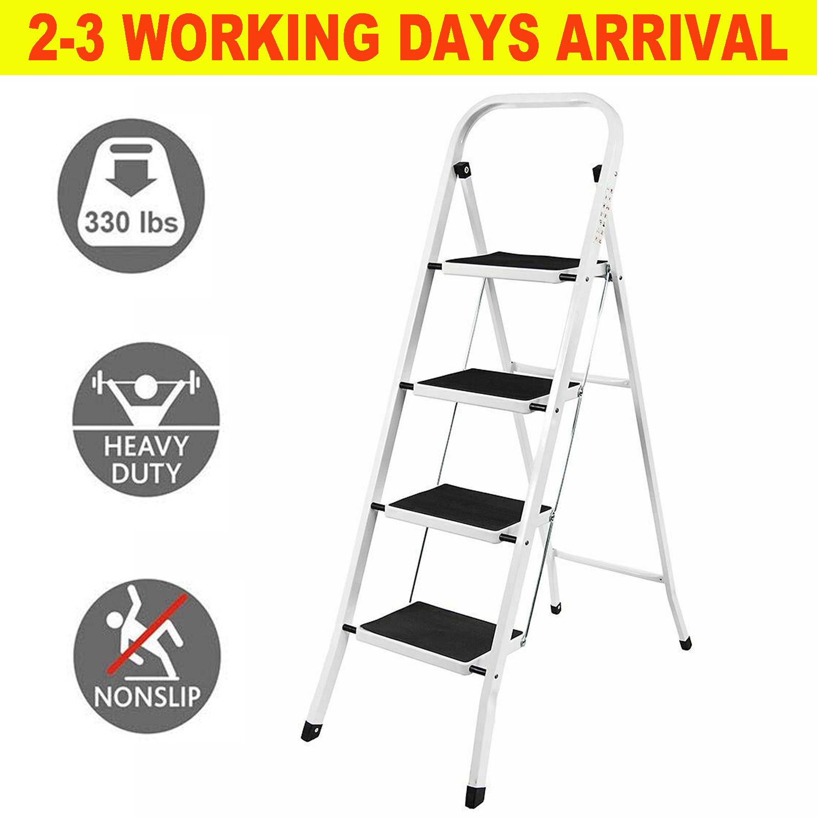 4step ladder steel folding portable wide non-slip step heavy