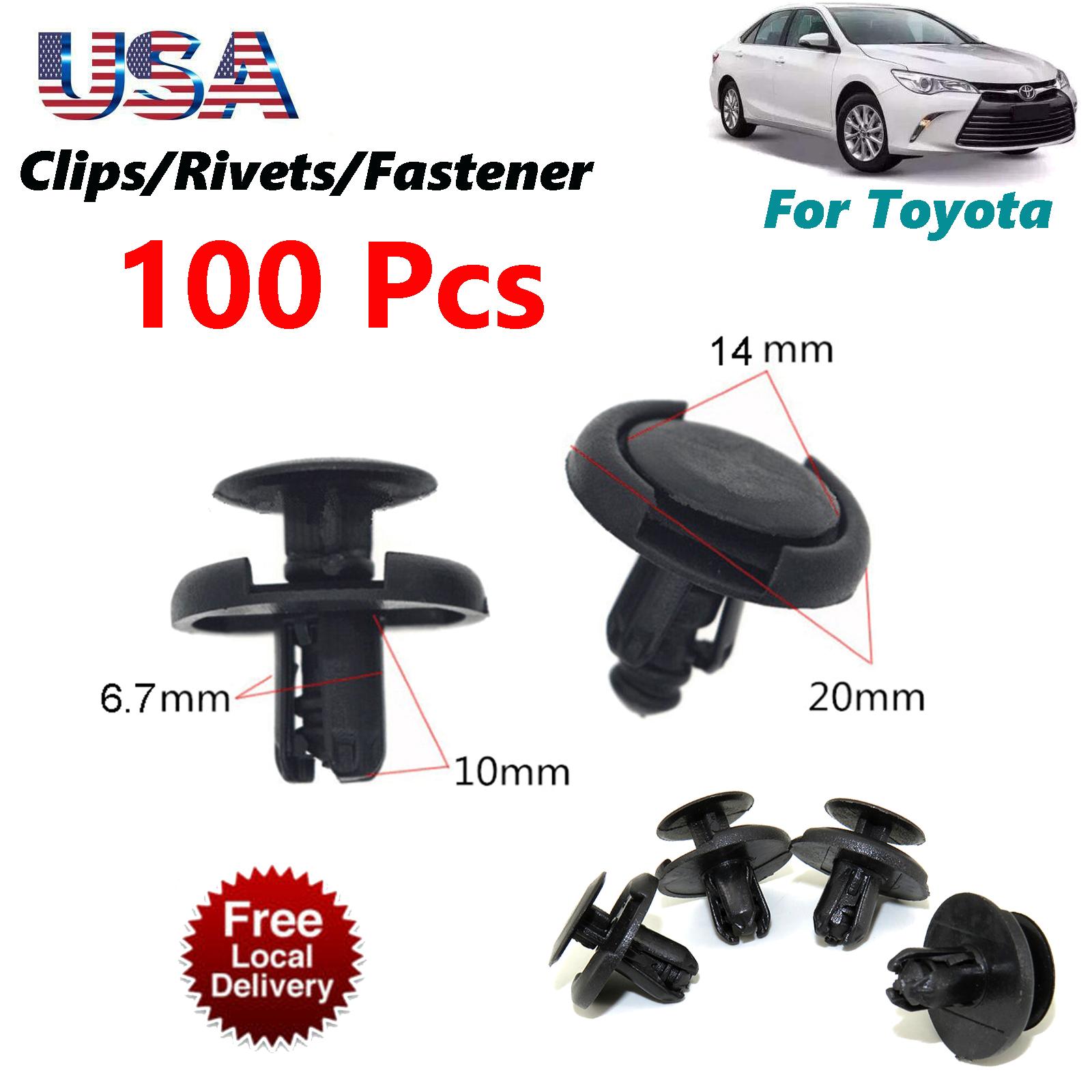 100Pcs 7mm Hole Fender Liner Fastener Rivet Push Clips Retainer For Toyota