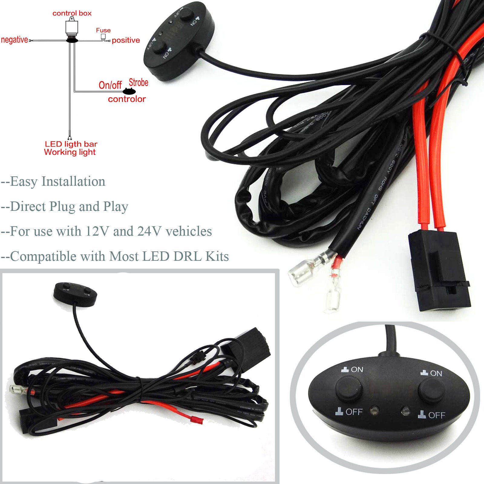 10ft 3m Wiring Harness Kit For Work Light Bar 60 300w Plug Play Direct A In S L1600 Copy44