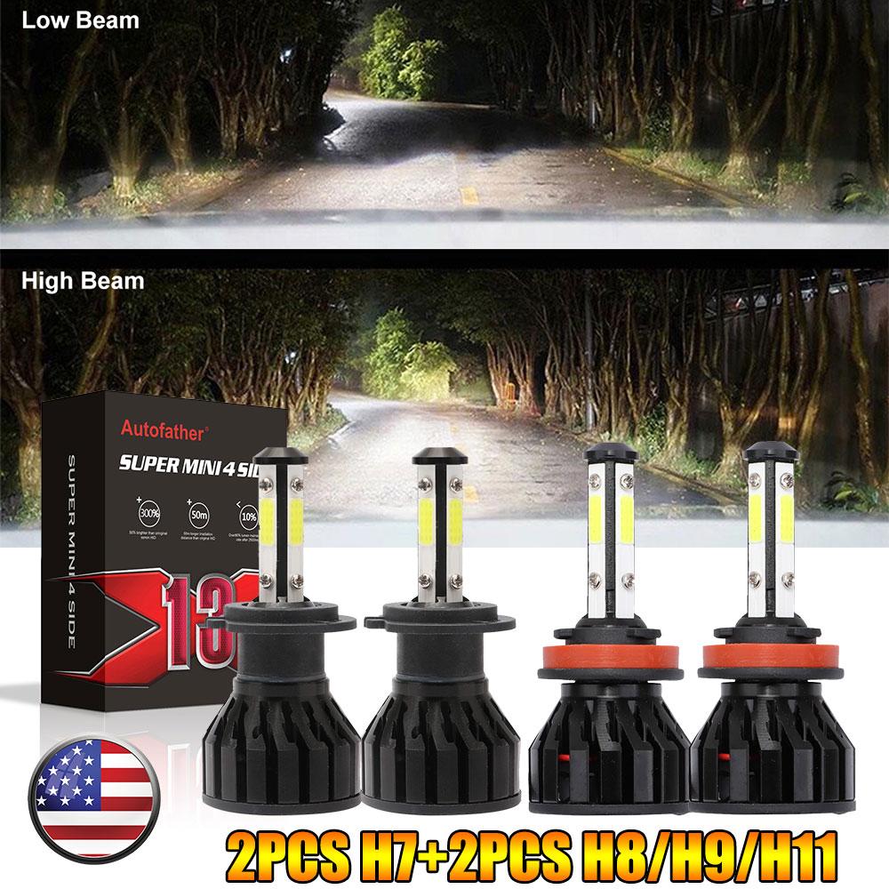4side CREE LED Headlight 600W 2X H7 Hi or Lo Beam Bulbs Super white VS Xenon HID