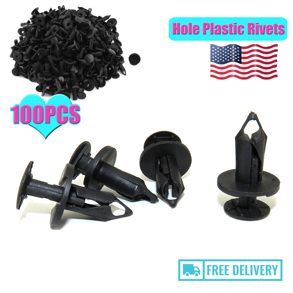 100x 8mm Hole Plastic Rivets Fastener Push Clips Black for Car Auto Fender