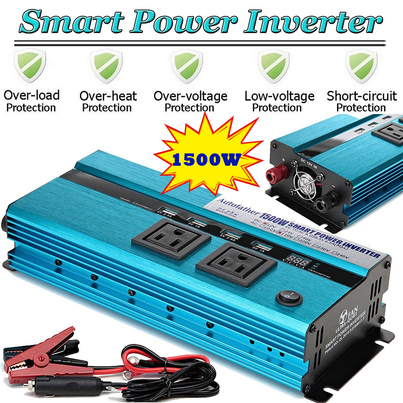 Car Power Inverter 1500W 12V DC To 110V-120V AC Modified Sine Wave Converter USB