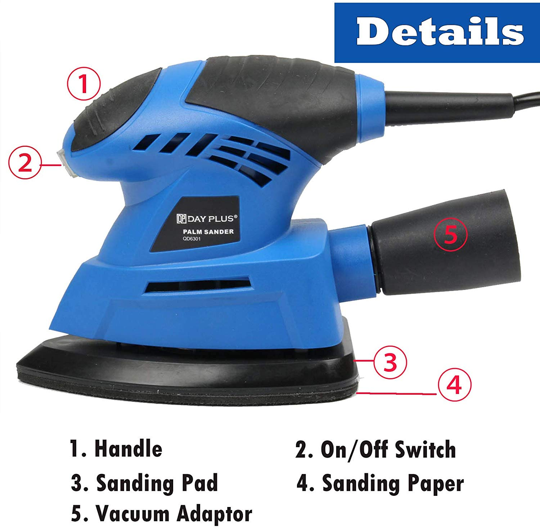 FREE GIFT! 1//4 Sheet Orbital Hand Palm Sander Sanding Detail Dust Chute Vacuum
