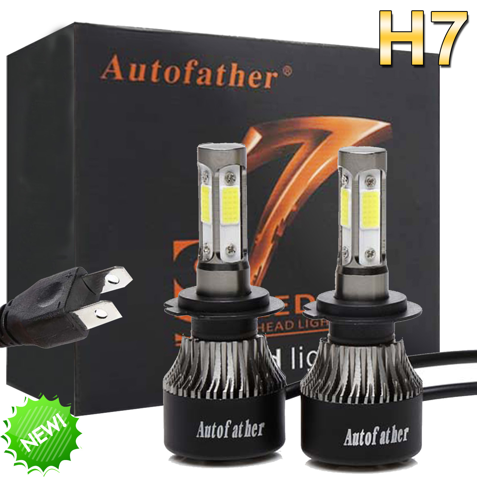 Newest H7 4-Sided LED Headlight 200W 24000LM High or Low Beam Bright 6000K White