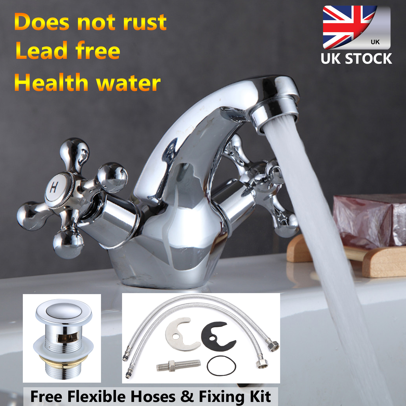 Bathroom Kitchen Basin Mixer Hot Cold Swivel Water Twin Double Lever Tap DD